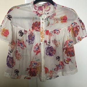 Flowy, multicolored floral shirt